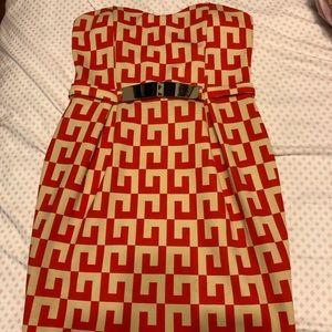 Red Orange and Cream Strapless Dress